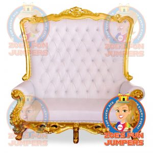 Royal Throne Double Chair White with Gold Trim Party Rental | Zoe's Fun Jumpers